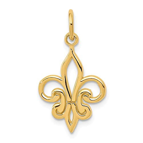 14k Yellow Gold Fleur De Lis Pendant Charm Necklace Fine Jewelry Gifts For Women For Her