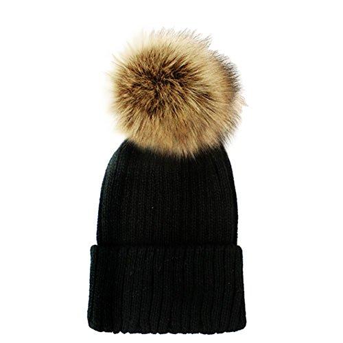 Women's Winter Trendy Warm Faux Fur Pom Pom Fashion knit Beanie Hats JM6062 (Black+Brown)