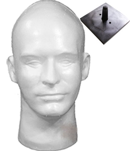 White Male Head, Styrofoam/with Tabletop Plastic Support Stand Plastic Mannequins