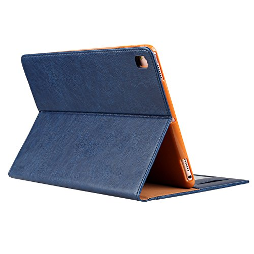 iPad Pro 10.5 Soft Back Case, Vacio Premium PU Leather Case Tablet Smart Stand Case Slim Fit Cover with Card Slot and Hand Strap for iPad Pro 10.5 inch.(Blue) by Vacio