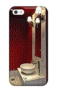 New Arrival Iphone 5/5s Case Contemporary Powder Room With Red Damask 038 Vessel Sink Case Cover