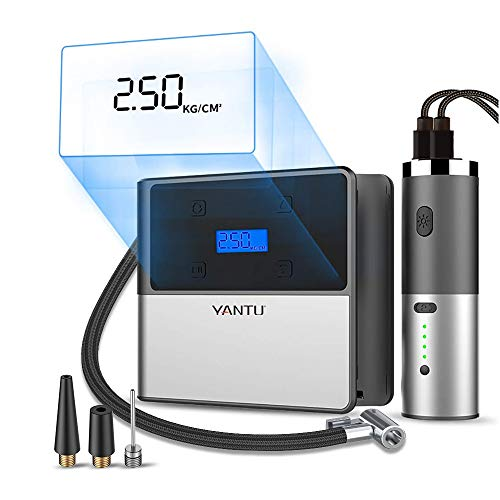 YANTU Portable Air Compressor Pump, Cordless Tire Inflator with Digital Display and LED Lights for Car and All Inflatables, Detachable Power Adapter with Dual USB