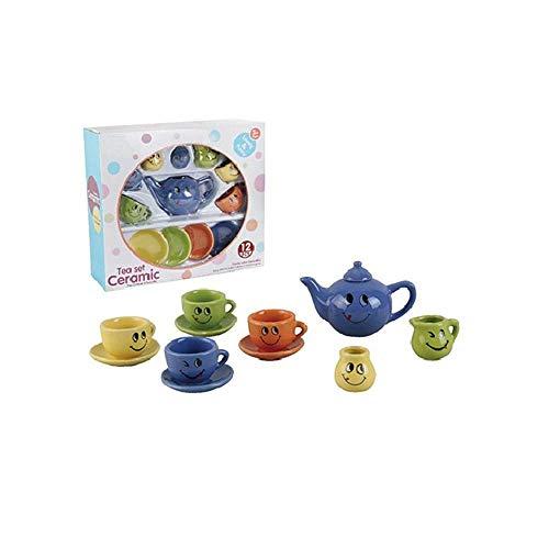 NeatoTek Mini Size 12 Pieces Cute Smile Porcelain Ceramic Tea Set Pretend Play Kids Kitchen Playset Toys Boys Girls