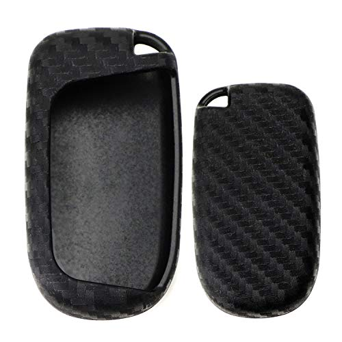 iJDMTOY Carbon Fiber Pattern Soft Silicone Key Fob Cover Case For Dodge Charger Challenger Durango Dart, Jeep Grand Cherokee, Renegade, Chrysler 200 300 Smart Key