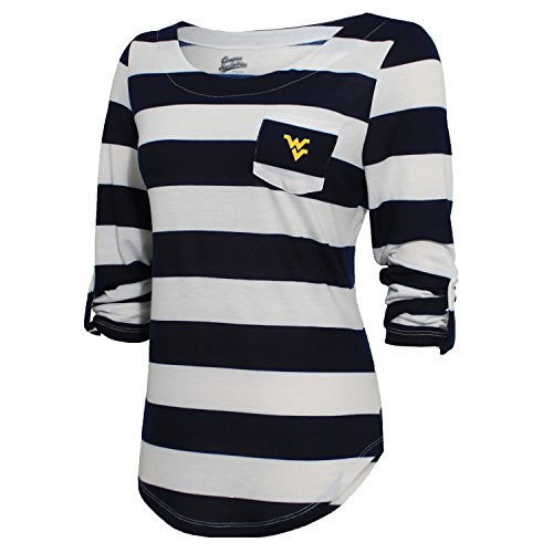NCAA West Virginia Mountaineers Women's Campus Specialties Striped 3/4 Sleeve Tee, Navy/White, Large