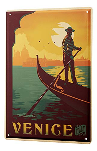 Tin Sign XXL Holiday Travel Agency Venice Italy Gondola - Travel Holiday Tin