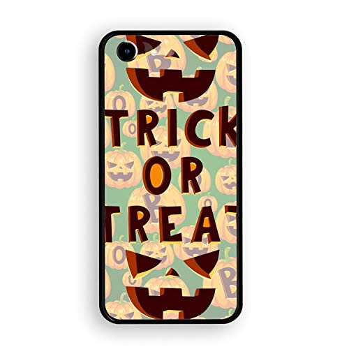 Halloween Party iPhone 7 Case Luxury Tempered Glass Back Cover with Soft TPU Bumper Frame Shock Absorption 360 Degree Full Protection -