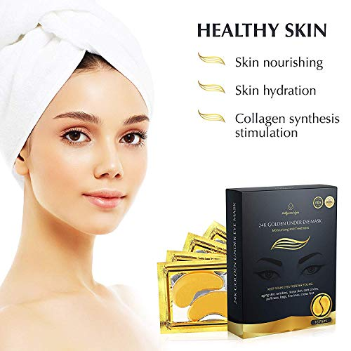 41%2BEZJlMmpL - BrightJungle Under Eye Collagen Patch, 24K Gold Anti-Aging Mask, Pads for Puffy Eyes & Bags, Dark Circles and Wrinkles, with Hyaluronic Acid, Hydrogel, Deep Moisturizing Improves elasticity, 16 Pairs