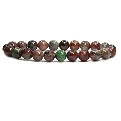 "Amandastone Rashgar Garnet Jasper Gem Semi Precious Gemstone 8mm Ball Beads Stretch Bracelet 7"" Unisex"