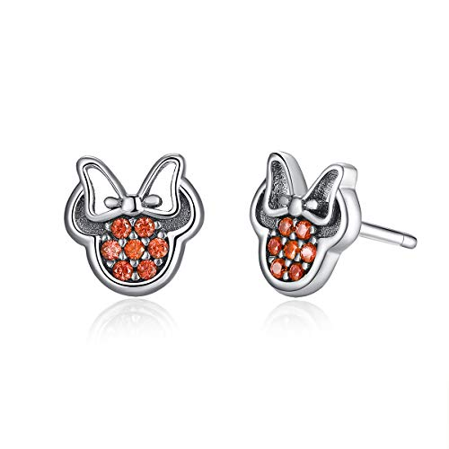BISAER Cute Mini Mouse Stud Earrings 925 Sterling Silver Stud Earrings with Fashion Red Cubic Zirconia Studs for Girls and Women 925 Sterling Silver Mouse