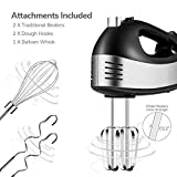 Hand Mixer Electric, 5 Speed Handheld Kitchen Mixer with Turbo Includes 2 Wider Beaters, 2 Dough Hooks, 1 Balloon Whisk and Storage Case