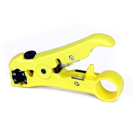 Sonline Crimpadora de cable coaxial para casete reversible RG59/6/7/11 (
