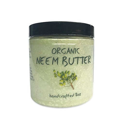 Naked Neem Organic Neem Butter with Organic Neem Oil, Extract and Leaf Calm Sensitive Skin, Itchy Skin and More Handcrafted in Small Batches, 8 oz.
