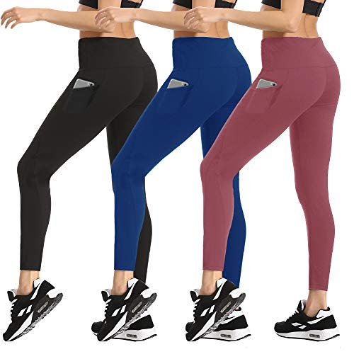 HLTPRO High Waist Yoga Pants - Tummy Control Non See-Through Yoga Leggings with Pockets for Workout, Running