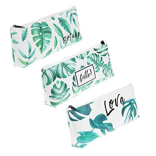 LJY 3 Pieces PU Leather Tropical Palm Leaf Pattern Pencil Holder Stationery Pouch Bags for School Office Cosmetic Makeup Organization