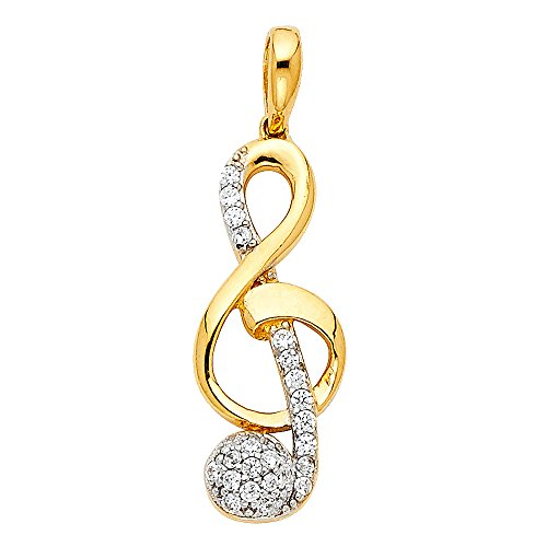 Solid 14k Yellow Gold Musical Note Pendant Treble Clef Charm CZ Fashion Style Curve S Fancy 9 x 21 (Solid Yellow Gold Musical Notes)