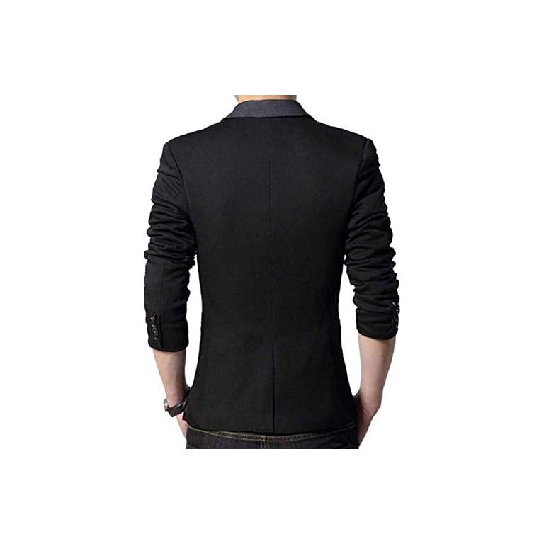 41%2BEbxFgOzL. SS768  - MENJESTIC Men's Designer Blazer with Grey Lapel Available in Black and Grey /2 Colors