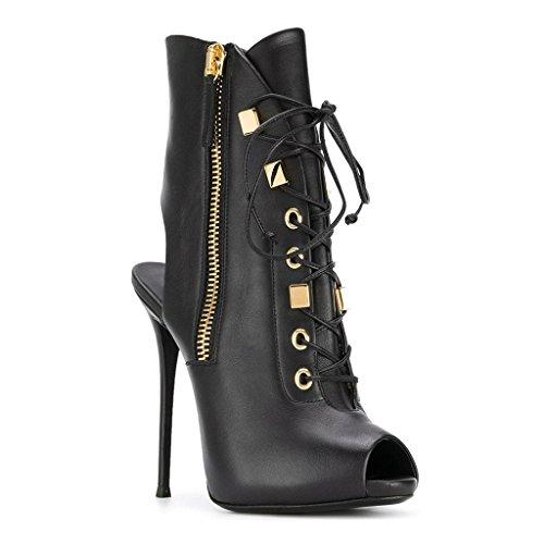 Dew Platform LYY Mouth Fish Boots 12 Women's Super With Heel Black 13Cm And YY Spring High Black Autumn wqAvgtqCWx