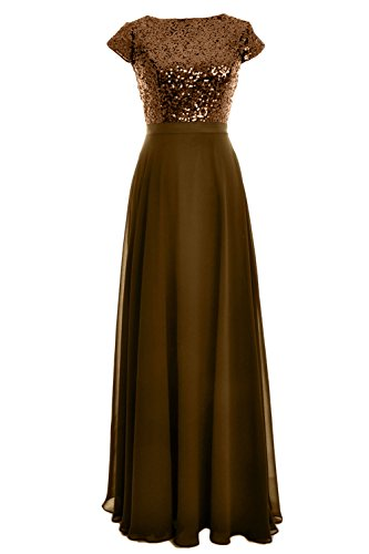 MACloth Women Cap Sleeve Sequin Chiffon Long Birdesmaid Dress Wedding Party Gown Bronze