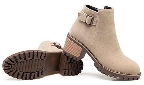 Aisun Kvinners Vintage Inne Zippe Spenne Stropp Rundt Toe Ankel Boots Midten Blokk Hæl Sokker Sko Med Glidelås Beige