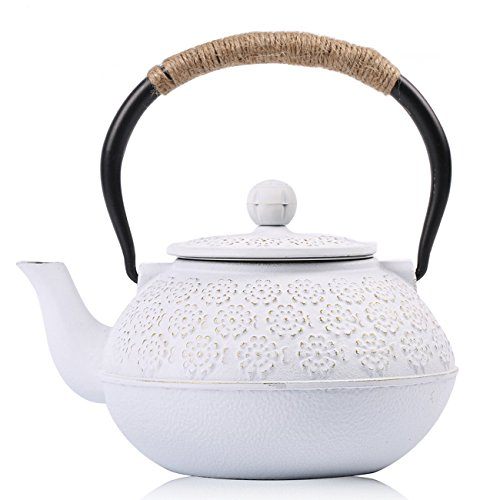 Cast Iron Teapot, Sotya Tetsubin Japanese Tea Kettle (1200ml, White)