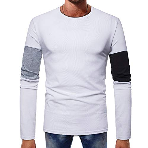 ZYEE Clearance Sale! Men Long-Sleeve Winter Splicing Button Basic Solid Pure Color Blouse Tee Shirt Top