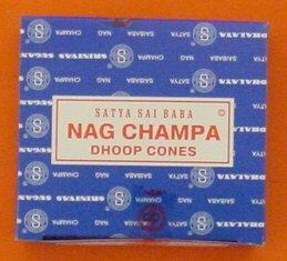 Satya Saibaba Nag Champa Incense Cones, Box of 12 Cones - incensecentral.us