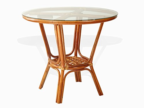 Pelangi Rattan Wicker Round Dining Table with Glass Top, Colonial (Suppliers Dining Table)