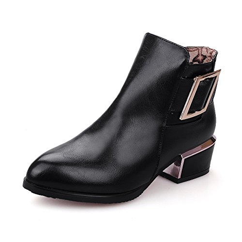 Soft Zipper Toe Boots high Closed Women's Ankle Black Heels AmoonyFashion Material Pointed Low xA5RHpRw