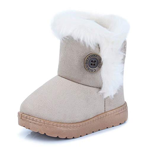 CIOR Fantiny Toddler Snow Boots for Baby Girl Fur Outdoor Slip-on Boots (Toddler/Little Kids) TX-nk-beige29 -