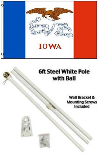 Moon Knives 3x5 State of Iowa Flag White Pole Kit Gold Ball Top - Party Decorations Supplies For Parades - Prime Outside, Garden, Men Cave Decor - Kit Iowa Party State