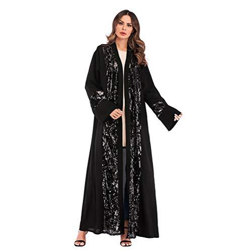 TENDYCOCO Vrouwen Grote Maat Robe Jurk Mode Pailletten Kralen Dubai Kaftan Moslimjurk Patchwork Abaya Midden-Oosten Maxi…