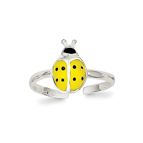 925 Sterling Silver Enameled and Polished Lady Bug Toe Ring Size- Gold Ladybug Toe Ring