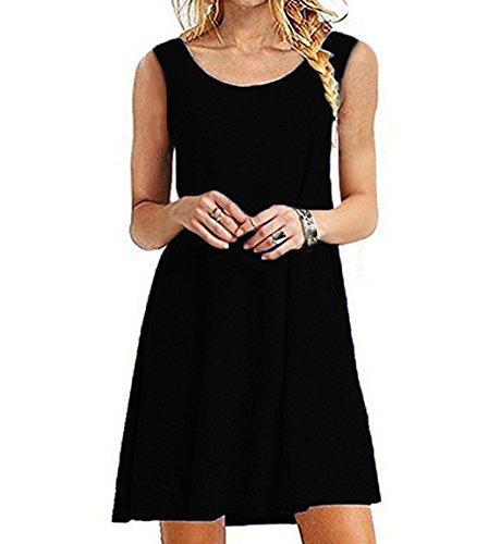 Women's Summer Swing Casual Sleeveless T-shirt Dress Loose Tank Plus Size Dresses Sundress Jo&Sha (XXL Black)
