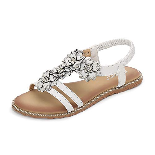 Ollily Women's T-Strap Beaded Flower White Flat Sandals Dress Beach Shoes (US 9.5,White)