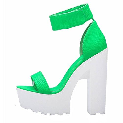 Fereshte Womens Comodi Sandali Open Toe Con Tacco A Zampa Verde Neon