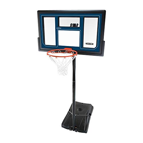 Lifetime 1529 Courtside Height Adjustable Portable Basketball System, 50 Inch Shatterproof Backboard (Height Of A Basketball Hoop High School)
