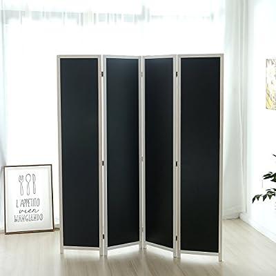 4-Panel Chalkboard Room Divider, Folding Writable Privacy Screen