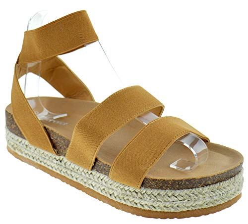 Forever Atarah 04 Womens Double Band Open Toe Slingback Raised Platform Espadrille Sandals Tan 8.5 ()