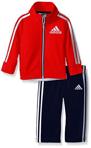 adidas Baby Boys' Tricot Jacket and Pant Set, Red/White, 6 (Boys Tracksuit)