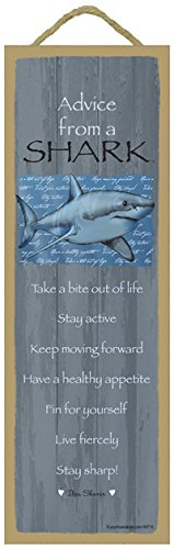 SJT ENTERPRISES, INC. Advice from a Shark Primitive Wood Plaque, Sign - Measure 5