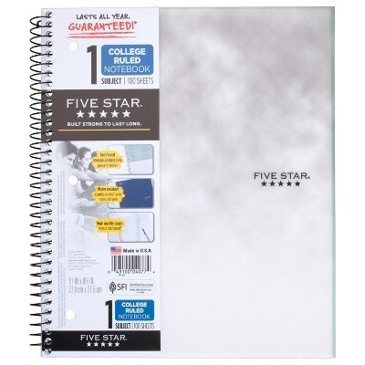 Clouded Spiral Notebook 1 Subject College Ruled White - Five Star White by Five Star