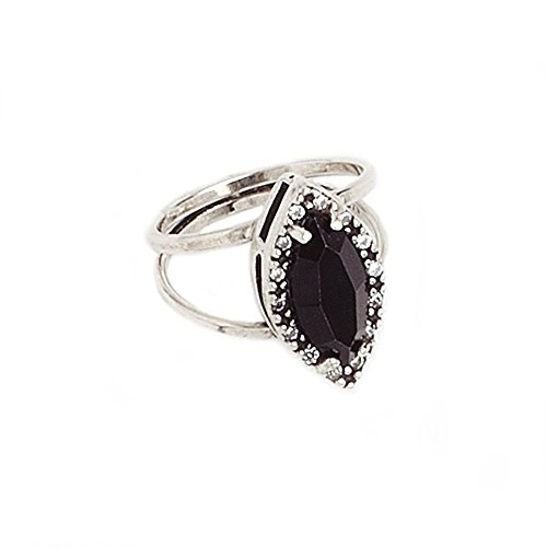 My Jewelry Spot 14K White Gold Cocktail Ring with Marquise Cut Black Cubic Zirconia Gemstone, CZ Statement Party Ring for Women Ladies (7) (Gold Marquise Gemstone)
