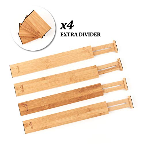 Expandable Bamboo Drawer Organizers - 4 Dividers plus Extra 4 Small Inserts - For Kitchen Cutlery, Desks, Utensils, Silverware, Flatware, Clothes and Dresser