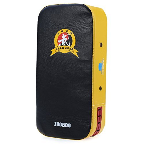 GreenDream Zooboo PU Leather Square Punching Kicking Foot Pad Target MMA Boxing Mitt Focus Punch Pad (Single)-YELLOW AND BLACK