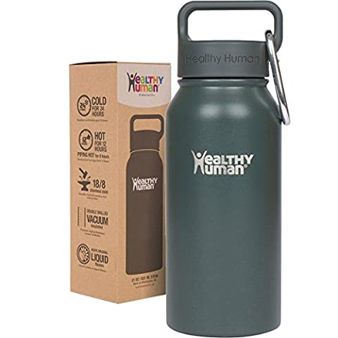 Healthy Human 16 oz Water Bottle - Cold 24 Hrs, Hot 12 Hrs. 4 Sizes & 12 Colors. Double Walled Vacuum Insulated Stainless Steel Thermos Flask with Carabiner & Hydro Guide. Color: Graphite