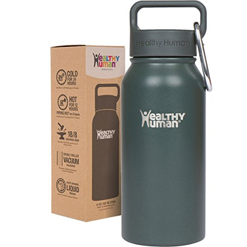 Healthy Human 16oz Water Bottle - BPA Free Stainless Steel Insulated Flask with Hydro Guide - Graphite