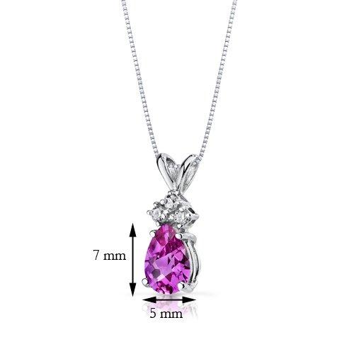 Revoni 14ct or blanc 585/1000 en forme de poire 1.00 Carats saphir rose diamant pendentif Collier