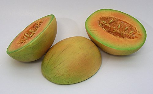 Designer One Artificial Faux Fake Half Cut Cantaloupe Melon Fruit by Realistic Fruit