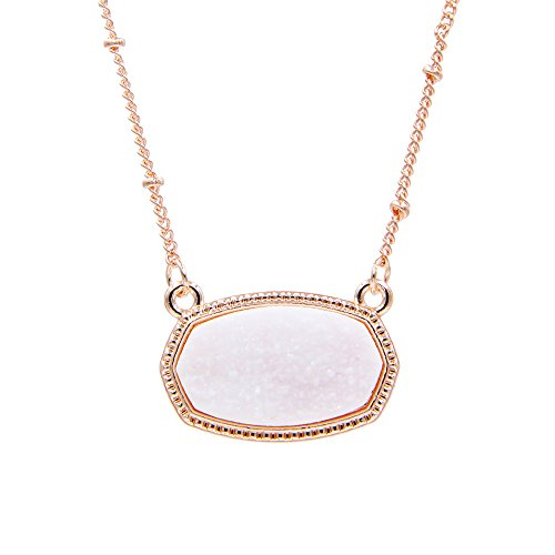(YUJIAXU Sparkling Faux Druzy Oval Pendent Short Necklace for Women's Gift Outfit Jewelry (Rose Gold + White Drusy))